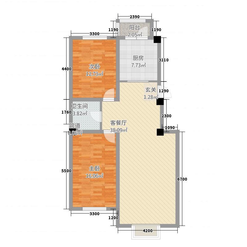 金地花园72217.52㎡B7#户型2室2厅1卫1厨