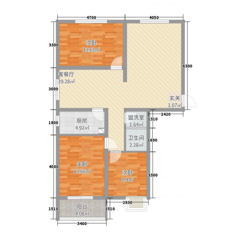 汇缘花庭8312.82㎡户型3室2厅1卫1厨