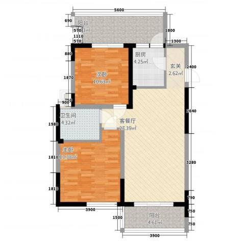 民福苑三期荷风苑2室1厅1卫1厨72.40㎡户型图