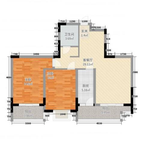 民福苑三期荷风苑2室1厅1卫1厨74.39㎡户型图