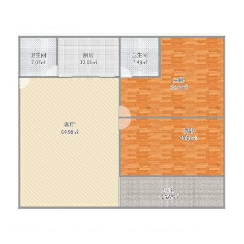 同乐花园2室1厅2卫1厨223.00㎡户型图