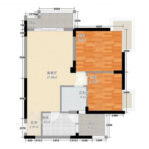 民福苑三期荷风苑2室1厅1卫1厨86.00㎡户型图