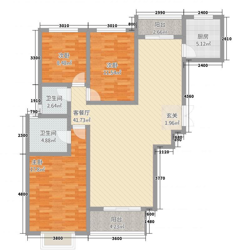 荣昌公园天下137.47㎡户型3室2厅2卫1厨