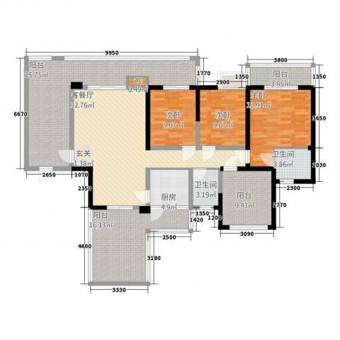 印象戛纳二期青云上3室1厅2卫1厨143.00㎡户型图