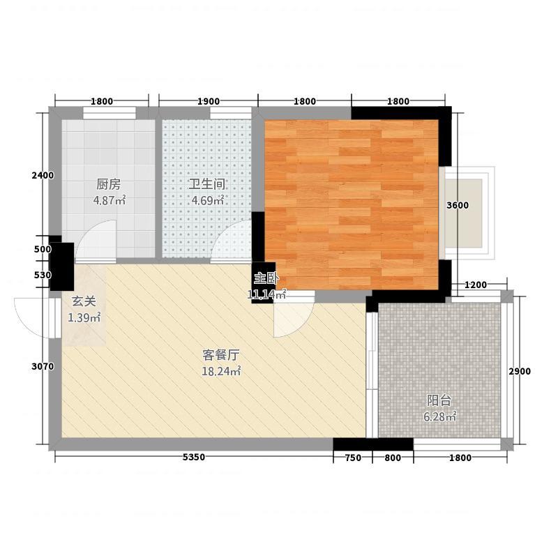民福苑三期荷风苑55.82㎡D户型1室1厅1卫1厨