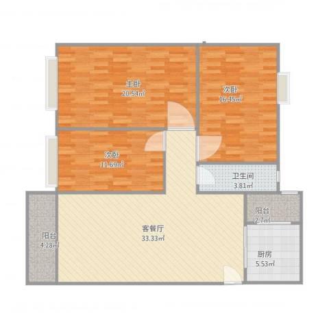 金沙新城3室1厅1卫1厨132.00㎡户型图