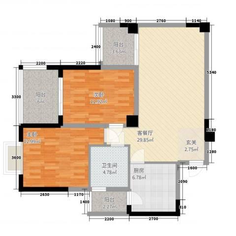 民福苑三期荷风苑2室1厅1卫1厨78.22㎡户型图