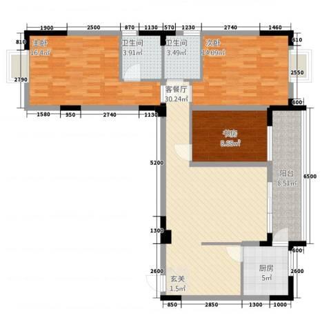 民福苑三期荷风苑3室1厅2卫1厨1115.00㎡户型图