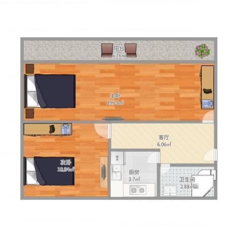 泗东新村2室1厅1卫1厨68.00㎡户型图