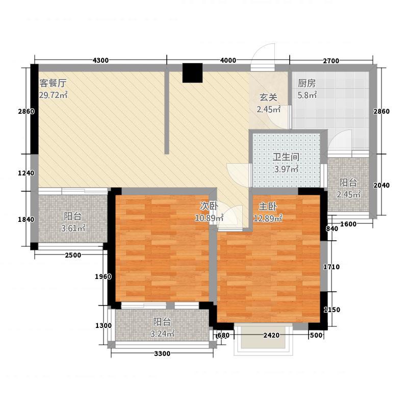 民福苑三期荷风苑3.72㎡C户型2室2厅1卫1厨
