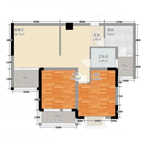 民福苑三期荷风苑2室1厅1卫1厨72.57㎡户型图