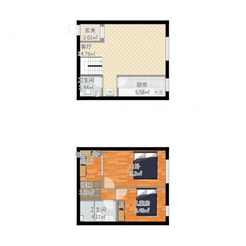 枫叶山庄2室1厅2卫1厨98.00㎡户型图
