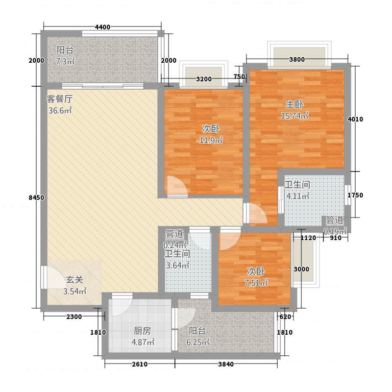 洱海天域国际公寓125.35㎡黄金海岸-E户型3室2厅2卫1厨