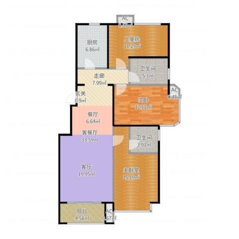 北京城建・海梓府2室1厅2卫1厨129.00㎡户型图