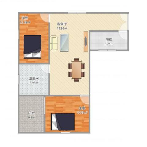 翠松楼2室1厅1卫1厨98.00㎡户型图