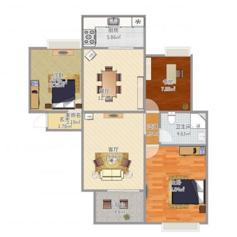 大观园家天下3室2厅1卫1厨107.00㎡户型图