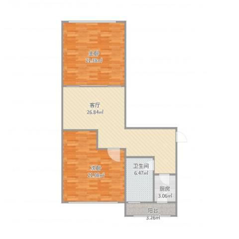 宜川北里2室1厅1卫1厨110.00㎡户型图