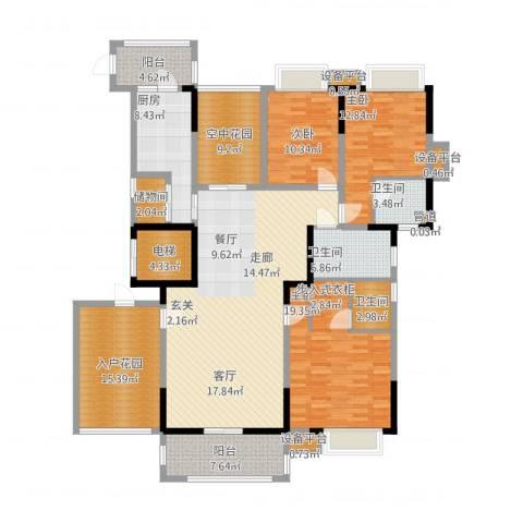 新世纪领居二期3室1厅3卫1厨219.00㎡户型图