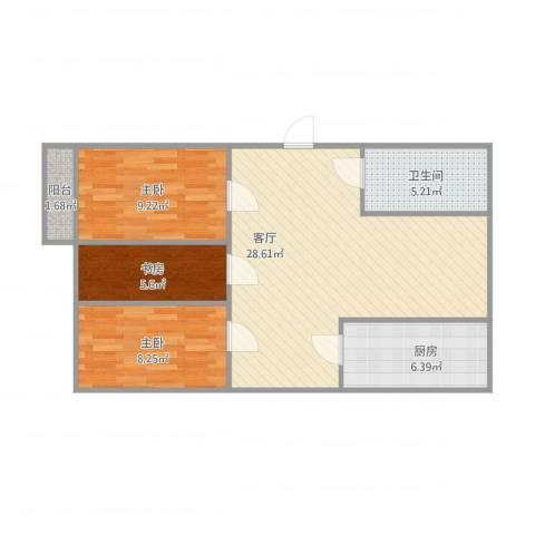 清河北苑3室1厅1卫1厨88.00㎡户型图