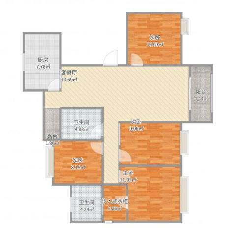苏宁荣悦4室1厅2卫1厨132.00㎡户型图