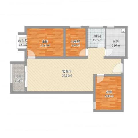 大唐世家2号中间户型3室1厅1卫1厨108.00㎡户型图