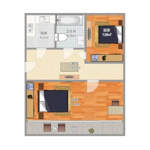 万荣小区2室1厅1卫1厨69.00㎡户型图