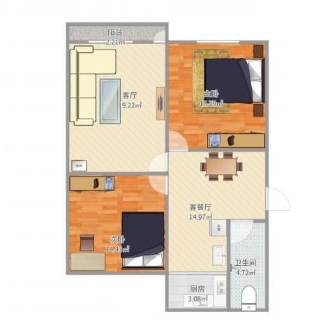 山大二宿舍8-1-5012室2厅1卫1厨100.00㎡户型图