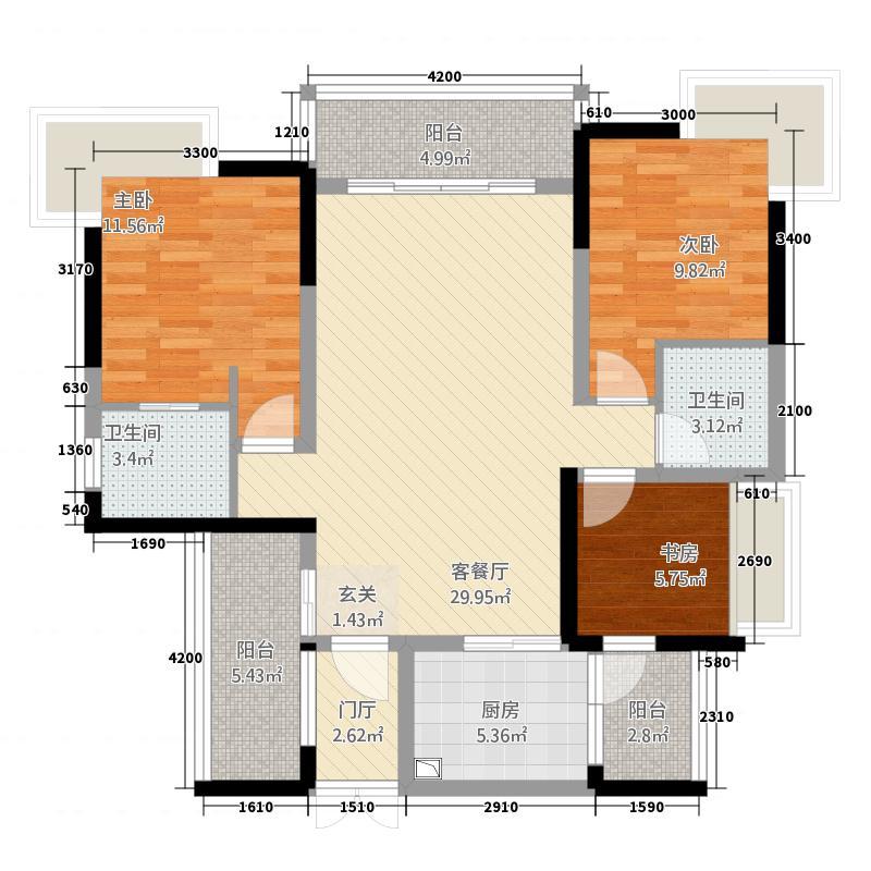 博邦・紫韵东城1316.76㎡D户型3室2厅2卫1厨