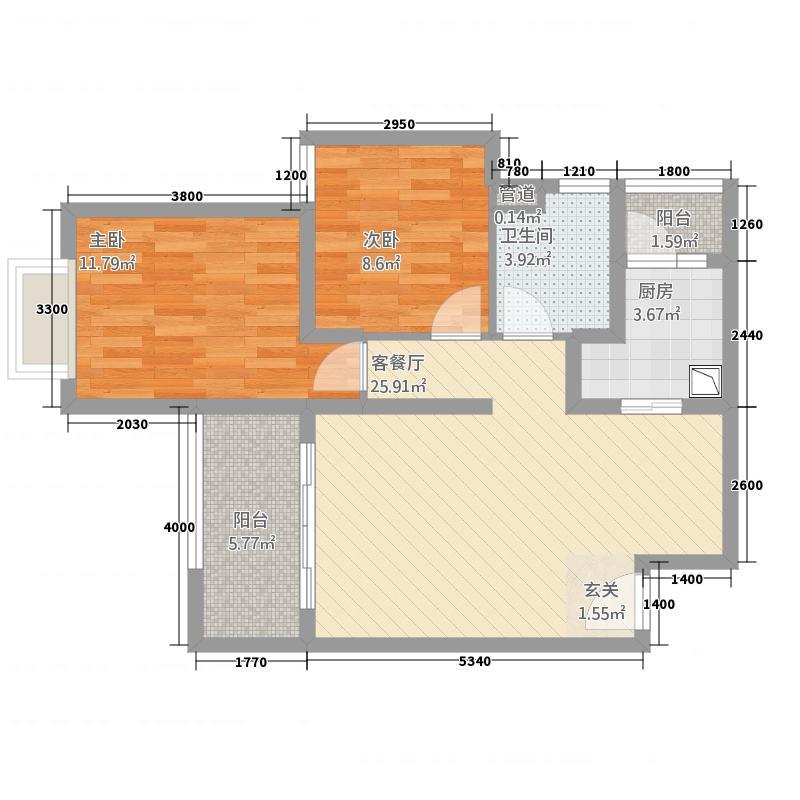 洱海天域国际公寓82.66㎡黄金海岸-D户型2室2厅1卫
