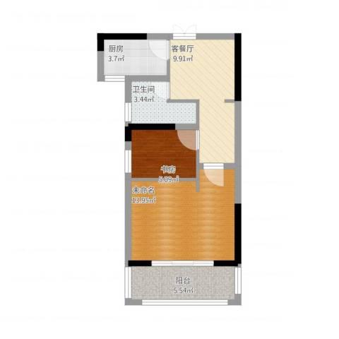 金都华府1室1厅1卫1厨61.00㎡户型图