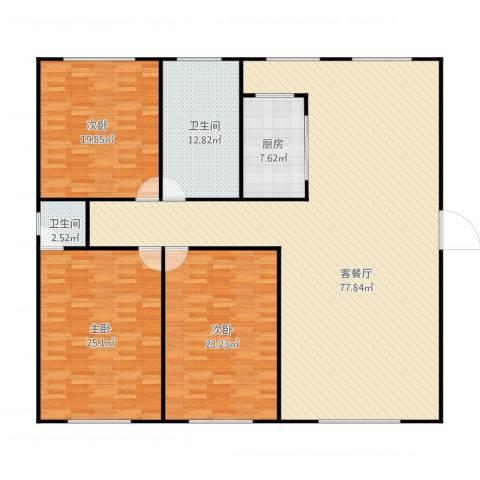 滨河湾3室1厅2卫1厨222.00㎡户型图