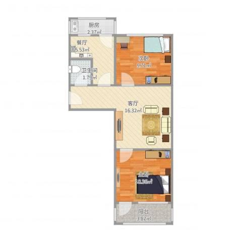 公交公司宿舍2室2厅1卫1厨68.00㎡户型图