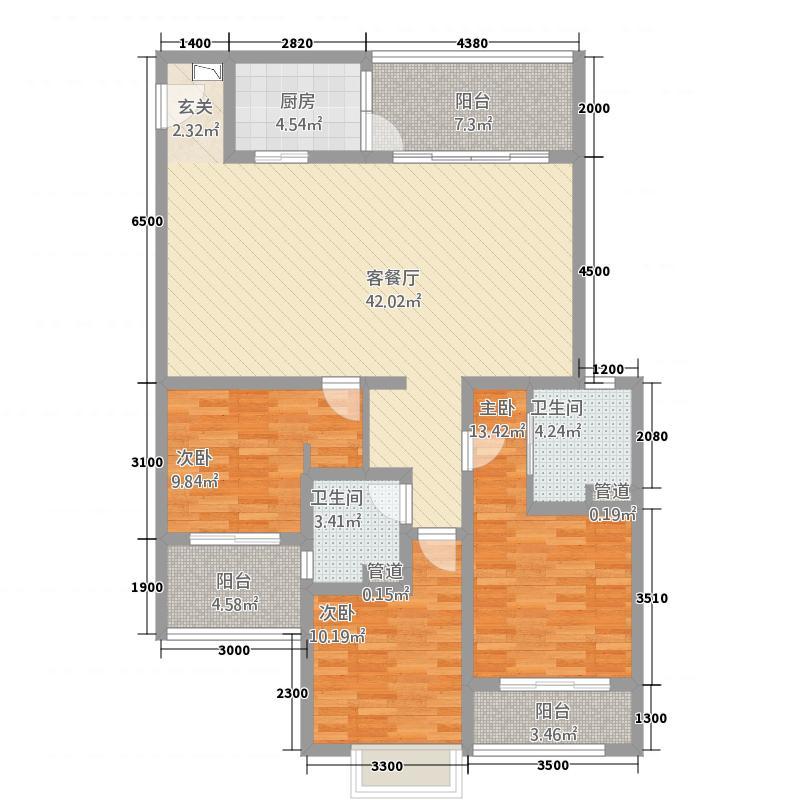 洱海天域国际公寓131.20㎡黄金海岸-D户型3室2厅2卫1厨