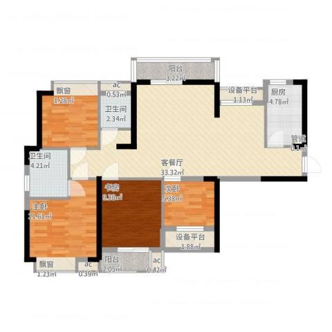 听涛观海龙台4室1厅2卫1厨129.00㎡户型图
