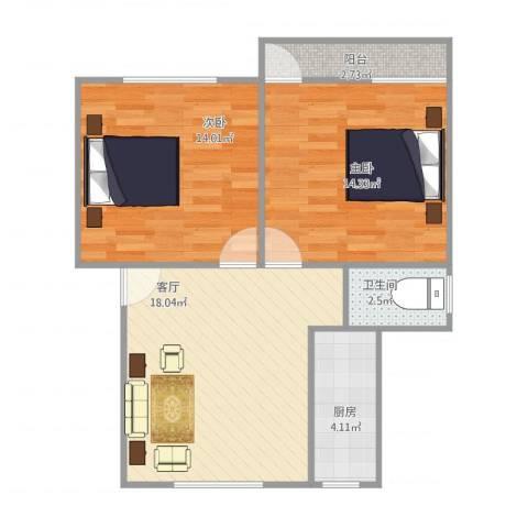 美仁前社2室1厅1卫1厨75.00㎡户型图
