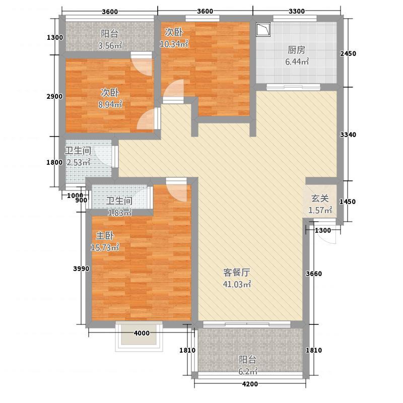 潇湘国际花城131.51㎡紫薇园A-户型3室2厅2卫1厨