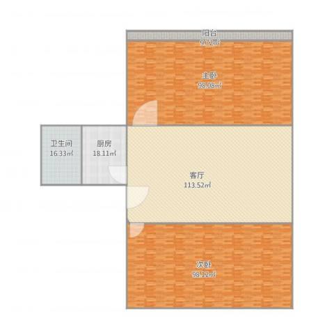 十五家园2室1厅1卫1厨457.00㎡户型图
