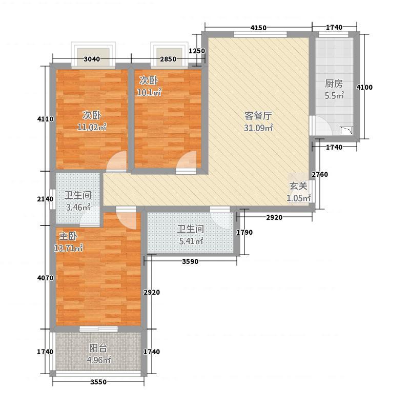 汇缘花庭33122.12㎡户型3室2厅2卫1厨