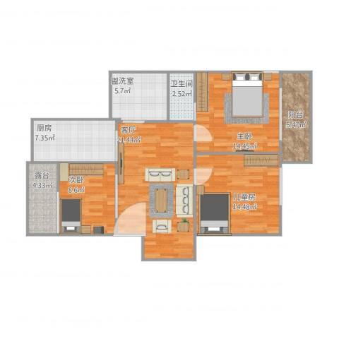 高行银杏苑3室2厅1卫1厨114.00㎡户型图