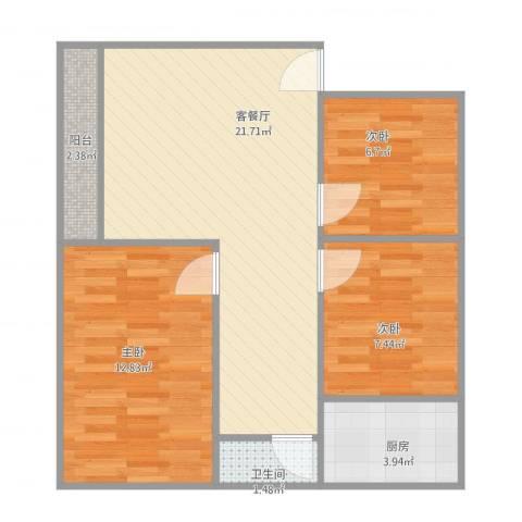 金侨花园3栋40013室1厅1卫1厨77.00㎡户型图