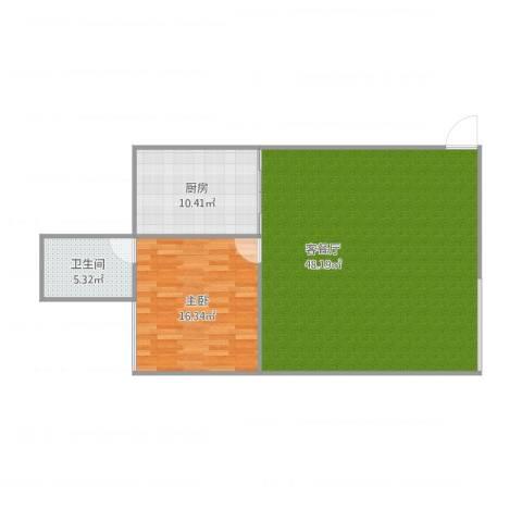 爱情公寓1室1厅1卫1厨105.00㎡户型图