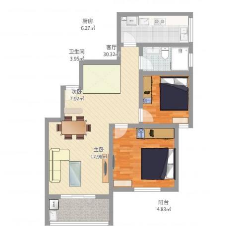 金汇嘉园2室1厅1卫1厨96.00㎡户型图