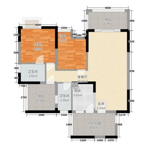 印象戛纳二期青云上2室1厅2卫1厨85.07㎡户型图