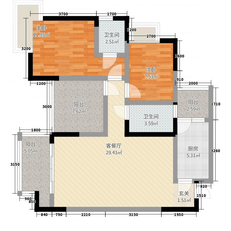 裕丰・寰宇华府3411.46㎡3、4号楼A双卫户型2室2厅2卫1厨
