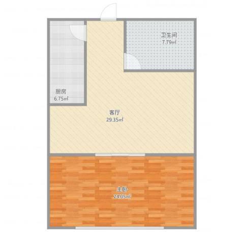 自由港1室1厅1卫1厨90.00㎡户型图