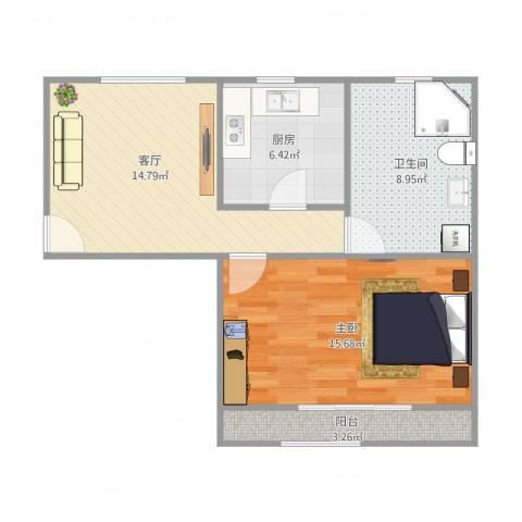 大华锦绣华城4街区23号1601室1室1厅1卫1厨67.00㎡户型图