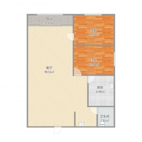 广厦聚隆广场5号楼2室1厅1卫1厨112.00㎡户型图
