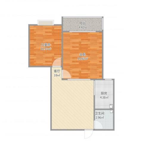 大众机械厂宿舍2室1厅1卫1厨78.00㎡户型图