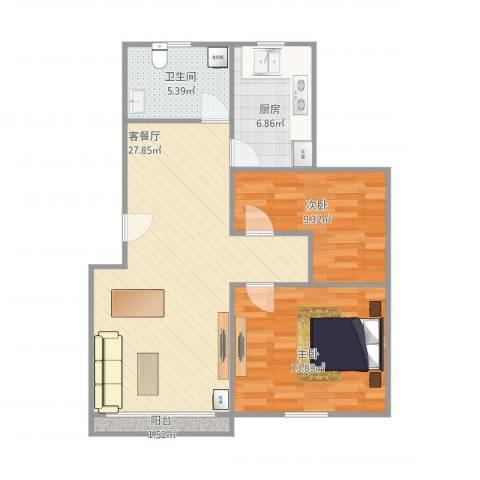 新里城和合苑2室1厅1卫1厨88.00㎡户型图