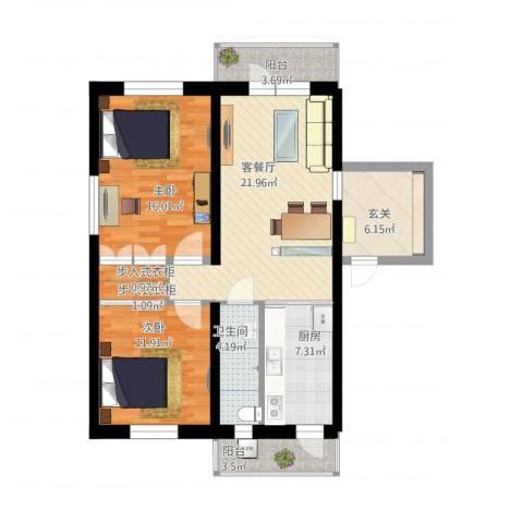 乐福里2室1厅1卫1厨91.01㎡户型图